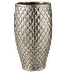 Vase métal argenté à carreaux Neela H 40 cm