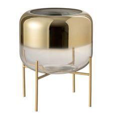 Vase transparent et pieds métal doré Narsh H 24 cm