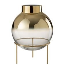 Vase verre transparent sur pied métal doré Narsh