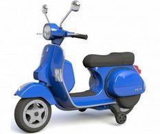 Vespa électrique bleu pour enfant avec petites roues d'entrainement