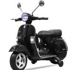 Vespa électrique noir pour enfant avec petites roues d'entrainement