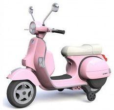 Vespa électrique rose pour enfant avec petites roues d'entrainement