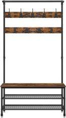 Vestiaire industriel bois vintage et acier noir Kaza 100 cm
