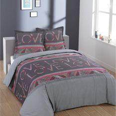 VISION Parure de couette LoveLove - 100% coton - Housse 240 x 260 cm + 2 taies 65 x 65 cm