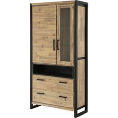 Vitrine 2 portes 2 tiroirs 1 niche acacia massif et métal noir Zayane