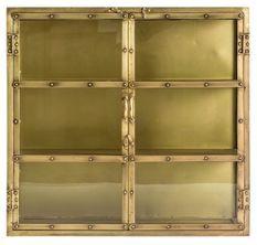 Vitrine 2 portes métal doré vieux Santok