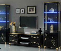 Vitrine à LED 2 portes bois laqué noir et doré Jade