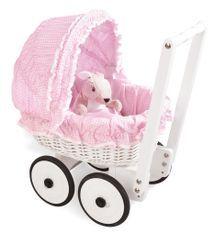 Voiture de poupée osier tressé blanc et tissu rose Marion