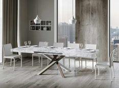 Table extensible 8 à 14 personnes effet marbre et pieds entrelacés 4 couleurs L 180 à 284 cm Artemis