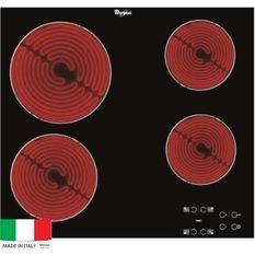 WHIRLPOOL AKT8090NE Table de cuisson Vitrocéramique - 4 zones - 6200W - L58 x P51cm - Revetement verre - Noir