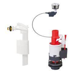 WIRQUIN Mécanisme de WC MW² - Economiseur d'eau a câble double boutons-poussoirs + Robinet flotteur latéral F90