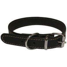 YAGO Collier en cuir Souple et Réglable pour moyen chien, taille M 34-40cm, Coloris Noir