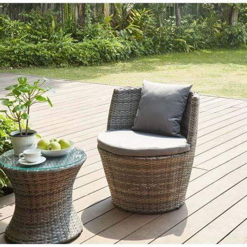 BEAU RIVAGE Salon de jardin Hilpea - 2 places - Marron - Photo n°2; ?>