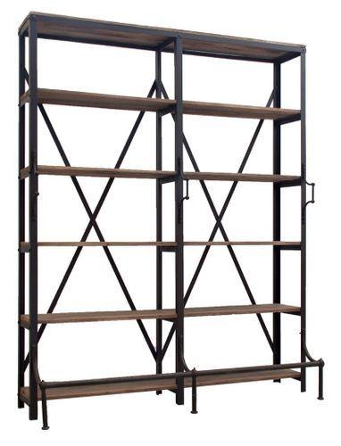 Bibliothèque industrielle 5 étagères bois de Pin massif et acier noir Stone 180 cm - Photo n°2; ?>