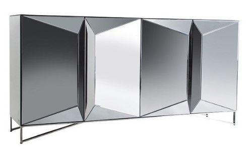 Buffet design 4 portes miroir argenté Kares 180 cm - Photo n°2; ?>