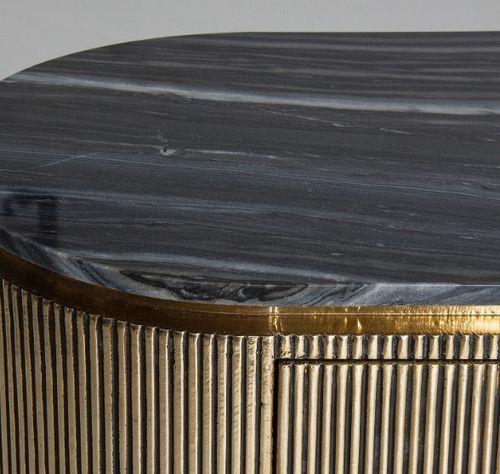 Buffet 1 porte 3 tiroirs métal vieux doré et plateau marbre noir Valura 150 cm - Photo n°2; ?>