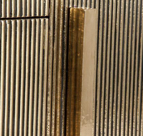 Buffet 1 porte 3 tiroirs métal vieux doré et plateau marbre noir Valura 150 cm - Photo n°3; ?>