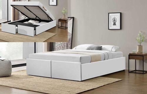 Cadre de lit avec coffre et 2 tiroirs 180x200 cm simili cuir blanc Karmi - Photo n°3; ?>