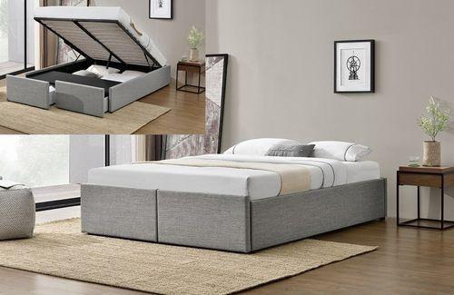 Cadre de lit avec coffre et 2 tiroirs 180x200 cm tissu lin gris clair Karmi - Photo n°3; ?>