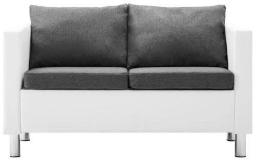 Canapé 2 places simili cuir blanc et gris clair Salma - Photo n°3; ?>