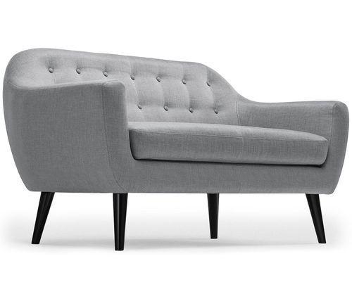 Canapé 2 places tissu gris clair et pieds bois noir Lalis - Photo n°2; ?>