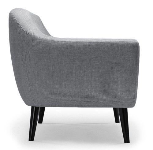 Canapé 2 places tissu gris clair et pieds bois noir Lalis - Photo n°3; ?>