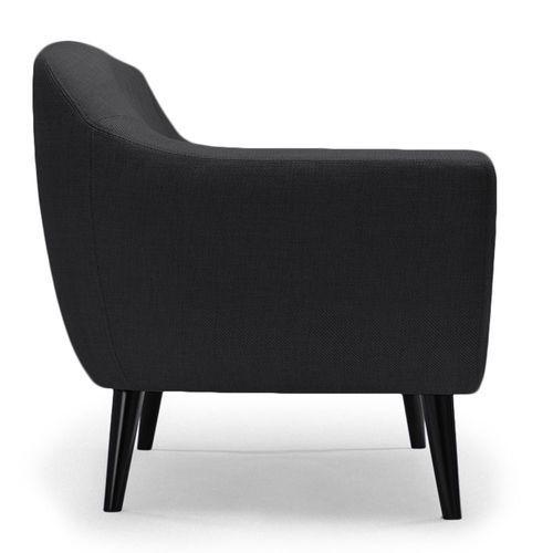 Canapé 2 places tissu noir et pieds bois noir Lalis - Photo n°3; ?>