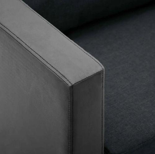 Canapé 3 places simili cuir noir et gris foncé Salma - Photo n°2; ?>