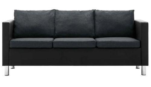 Canapé 3 places simili cuir noir et gris foncé Salma - Photo n°3; ?>