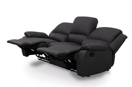Canapé relaxation manuel 3 places microfibre noir Confort - Photo n°2; ?>