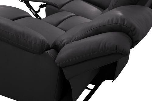 Canapé relaxation manuel 3 places microfibre noir Confort - Photo n°3; ?>