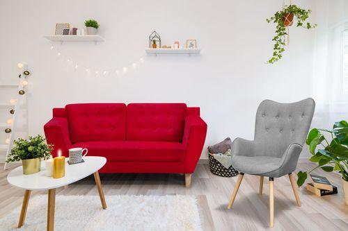 Canapé scandinave 2 places tissu rouge Mondo - Photo n°2; ?>
