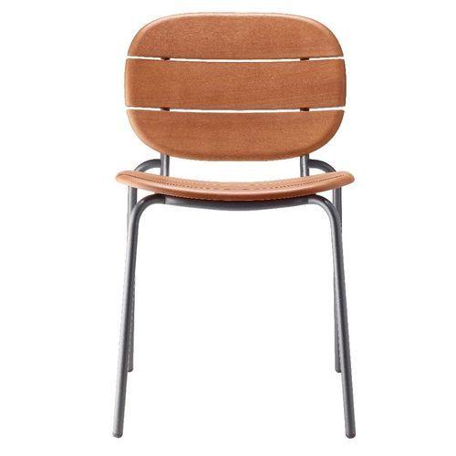 Chaise acajou foncé et pieds métal gris Si-Si Wood - Lot de 2 - Photo n°2; ?>