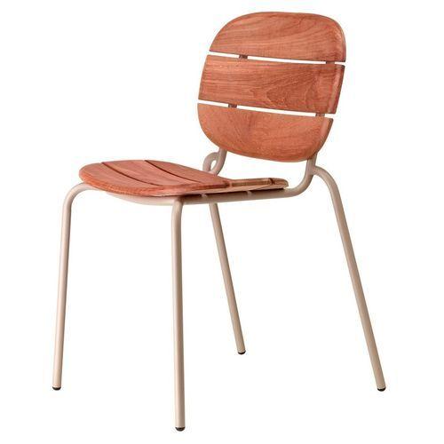 Chaise acajou foncé et pieds métal taupe Si-Si Wood - Lot de 2 - Photo n°2; ?>
