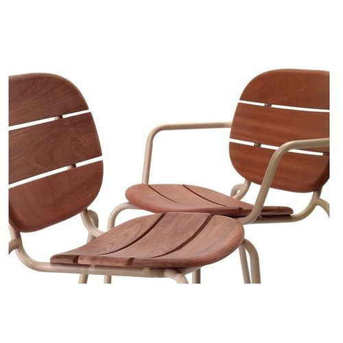 Chaise acajou foncé et pieds métal taupe Si-Si Wood - Lot de 2 - Photo n°3; ?>