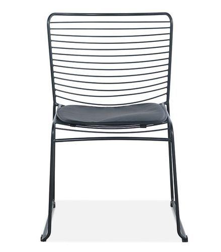 Chaise acier noir et assise avec un coussin en cuir noir Indy - Photo n°3; ?>