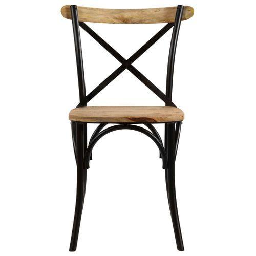 Chaise bois de manguier massif et acier noir Tiphen - Lot de 2 - Photo n°3; ?>