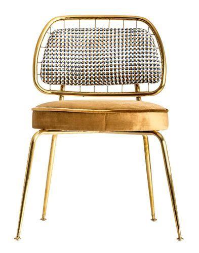 Chaise art déco métal doré et assise tissu moutarde Bari - Lot de 2 - Photo n°2; ?>