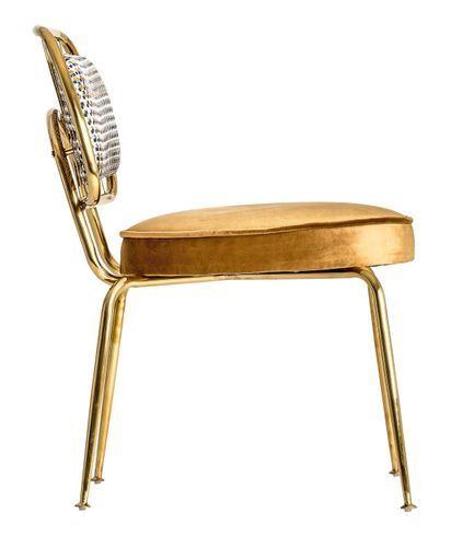 Chaise art déco métal doré et assise tissu moutarde Bari - Lot de 2 - Photo n°3; ?>