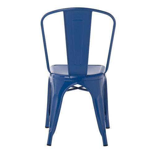 Chaise industrielle acier brillant bleu marine Kontoir - Photo n°3; ?>