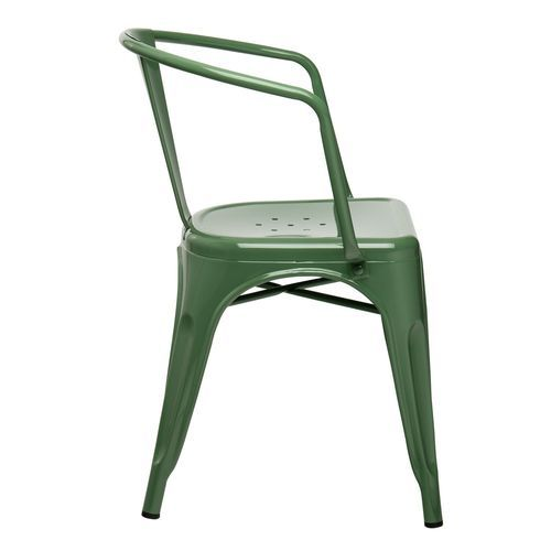Chaise industrielle avec accoudoirs acier brillant vert platane Kuista - Photo n°2; ?>