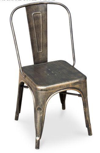 Chaise métal bronze metallic brillant - Photo n°3; ?>
