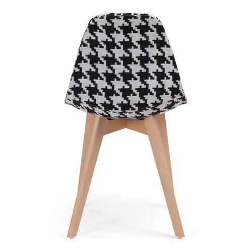 Chaise patchwork noir et blanc et pieds hêtre naturel Coki - Photo n°3; ?>