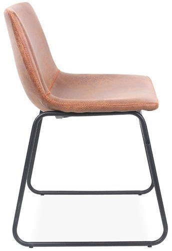 Chaise simili cuir camel et pieds métal noir Famou - Photo n°3; ?>