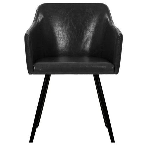 Chaise simili cuir noir et pieds métal noir Sary - Lot de 4 - Photo n°2; ?>
