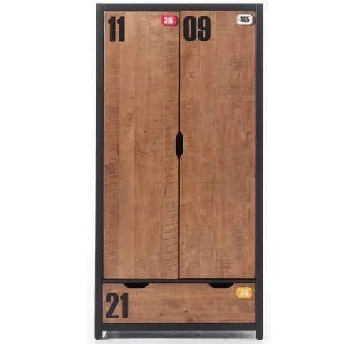 Chambre enfant 4 pièces lit gigogne chevet et armoire 2 portes pin massif foncé et noir Alex 90x200 cm - Photo n°2; ?>