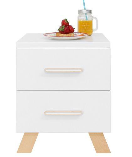 Chevet 2 tiroirs blanc et pieds hêtre massif clair Lisa - Photo n°3; ?>