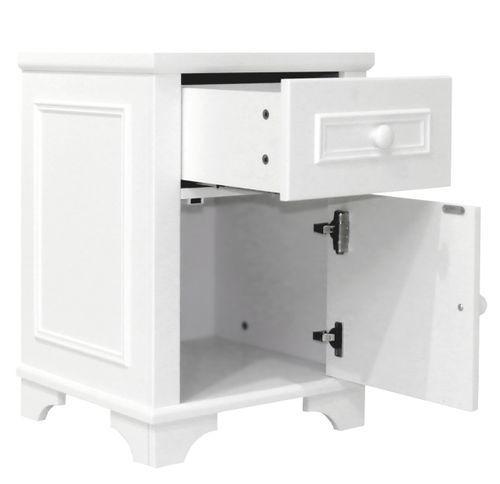 Chevet enfant 1 tiroir 1 porte blanc avec moulures Charlotte - Photo n°2; ?>
