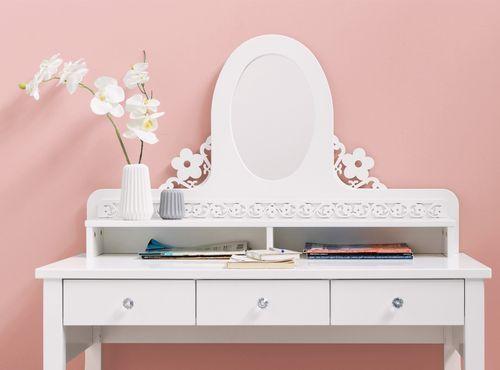 Coiffeuse 3 tiroirs 2 niches hêtre massif blanc Diva - Photo n°3; ?>