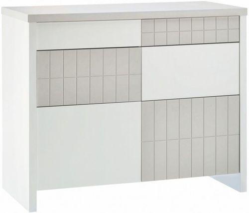 Commode à langer 4 tiroirs laqué blanc et taupe Joy - Photo n°2; ?>